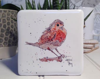 Coaster, Robin, Animal Coaster, Ceramic, Tile coaster, hand made, Decor, Interior Kitchen, Animals, British Wildlife, Country, Birds, Winter