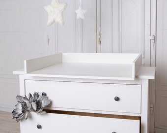 Handmade chest of drawers, changing table TOP for IKEA Hemnes dresser. In white! New!