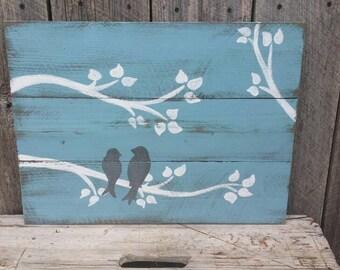 Love Birds Rustic Wall Art, Wood Sign