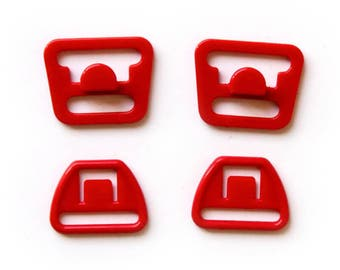 Maternity Bra Clips - Red, Convert normal bras to nursing breastfeeding bras, or spare parts / replacement snaps