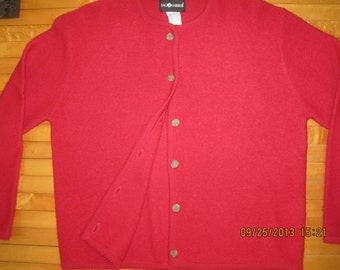 Classic Style Red Sweater Jacket 100 Percent Wool Nice