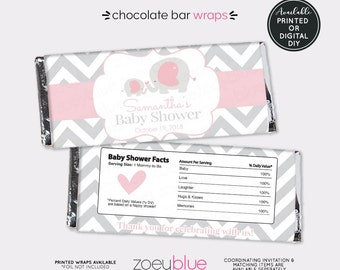 Elephant Baby Shower Chocolate Bar Wrapper - Pink Girl Elephant Baby Sprinkle Favor Candy Wrap - Baby Pink Elephant - Printable Candy Wraps