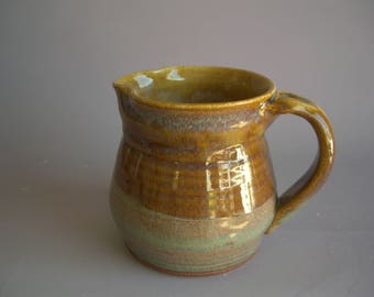 Hand thrown stoneware pottery small pitcher    (P-6)