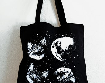 Three Cat Moon Tote Bag - Kitty Cat Space Parody Totebag