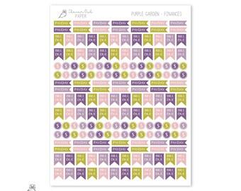 Purple Garden - Finances | Planner Stickers