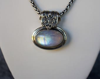 Sterling Silver. Moonstone. Beautiful Sterling Silver with 30x18 MM Moonstone Pendant.