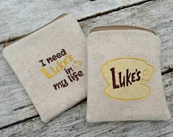 Gilmore girls pouches. Luke's coffee shop logo. I need Luke's in my life! Gilmore girls zipper purse. Gift set.