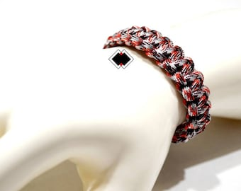 paracord survival bracelet red camo handmade in USA