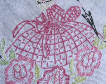 Small Embroidered Tablecloth Victorian Bonnet Girl Handmade Linen Tablecloth, Table Topper,  by mailordervintage on etsy