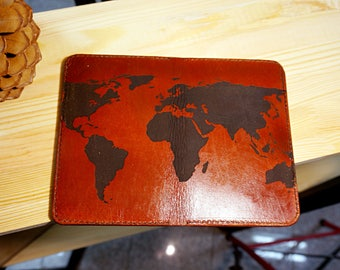 Field notes leather cover with world map.  x1 Field Notes notebook included with this cover. Personalization available. Field notes wallet