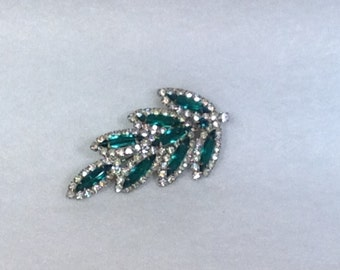 Vintage Green and Clear Brooch