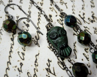 Midnight Forest Owl Necklace and Earring Set - black gunmetal, dark green glass - retro vintage asymmetrical necklace -Free Shipping USA