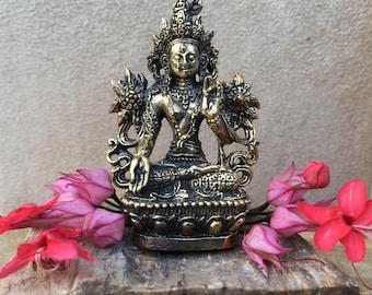 Tara Statue Brass White Tara Buddhist Bodhisattva Goddess Statue Small Altar Deity Buddhist Shrine Travel Altar Portable Altar Goddess
