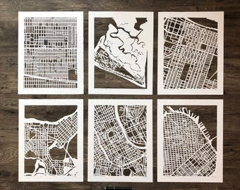 11x14 Hand Cut Map ORIGINALS, ready to ship