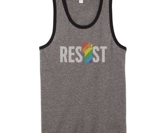 LGBTQ Resist Shirt Tank Top | LGBT Shirt | Rainbow Resist Fist | Gay Pride Shirt | Rainbow Resistance Shirt | Anti Trump | Pride Tank Top