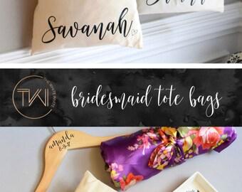 Bridesmaid Bag Tote - Personalized Tote Bag - Bridesmaid Totes - Bridal Party Maid of Honor Tote - Bridal Party Tote Bag With Bow