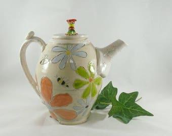 Ceramic Teapot, Whimsical Tea Pot, Teapot with Feet, Tea Set, Wonderland Tea Party, Ceramics and Pottery, 9th Anniversary Gift, Floral Art