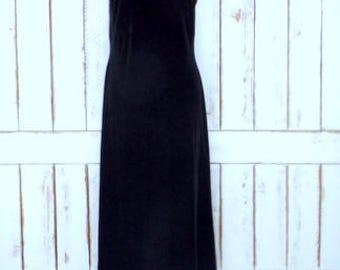 Vintage Jacqueline Ferrar black stretch velour velvet sleeveless maxi dress/long black velvet sleeveless dress/12
