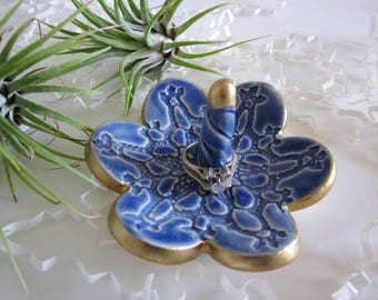 Royal blue porcelain ring dish, gold rimmed ring holder,  jewelry tray, home decor, kitchen storage