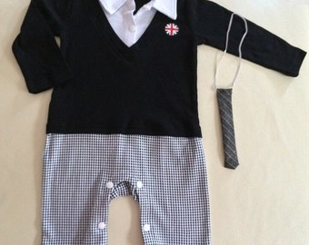 CLEARANCE Baby Boy Formal Tuxedo One-Piece Romper Suit REAL TIE Long Sleeve 3-6-12 months size 00/0