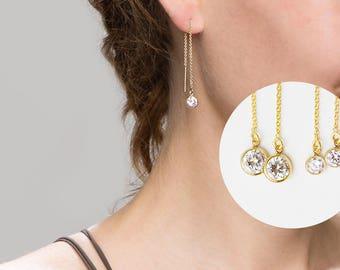 CZ Thread Earrings // Dangling Diamond Ear Threader // Threader earrings, gold statement hoops // Stocking stuffer Gift for Her
