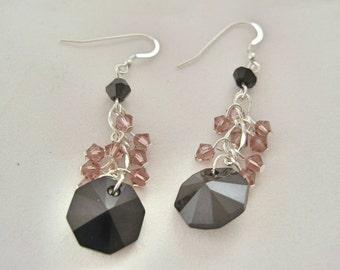 Pink and black crystal earrings