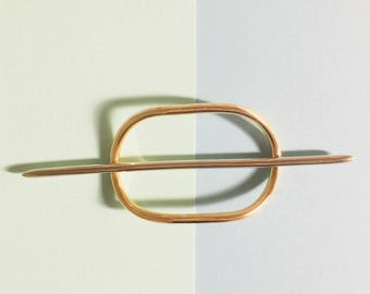 Two piece Gold and Silver Hair pin, brass hair fork, solid brass hair pick, gold barrette, bun holder, silver hair pin, gift for her, boho