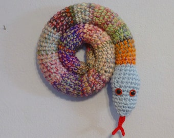 Door Draft Stopper Snake, Door Snake Mixed Colors, Crochet Draft Dodger, Door Draft Snake, Window Sitter, Stuffed Snake, 40 inches