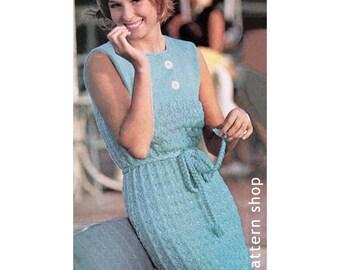 Lacy Dress Knitting Pattern Knit Lace Dress Pattern Womens Vintage Sleeveless Dress PDF Instant Download Size 10 12 14 16 18- K25