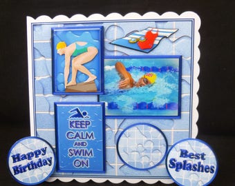 Female/Girl Swimming Birthday Card - Made in Uk - Handmade Card, 3d Decoupage Card, Competive Swimmer Card, Girl's Swimming Card