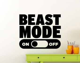 Beast Mode On Off Wall Decal Fitness Gym Motivational Quote Vinyl Sticker Home Sport Poster Workout Inspirational Art Decor Mural 112gy