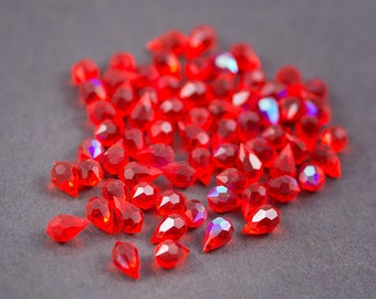 4 pcs - Bohemian crystal beads, faceted drops • Red • 10mm x 5mm