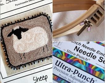 Beginner Punch Needle Kit - Sheep - #BPN1/Kit - Needlepunch Embroidery