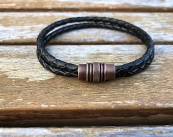 Antique Copper Magnetic Clasp For Leather Cord 10mm x 19mm Round Leather Cord Magnetic Clasp Hole Size 7mm MC-20