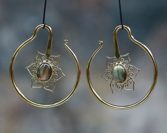 Labradorite and Brass Lotus ear weights or hanging styles, hand made