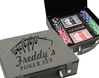 Poker Set - Poker Player - Personalized Poker Chip Set - Groomsmen Gifts - Gifts for Him - Gifts for Dad - Gifts for Men -Customize Set