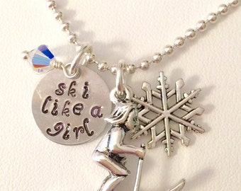 """Ski Charm Necklace, Snow Skier Necklace, Hand Stamped """"Ski Like A Girl"""",  Skiing Necklace, Winter sports, Skier Gift, Ski Team Necklace"""
