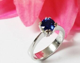 Gold ring Sapphire Ring Engagement Ring Solitaire Ring 14K White gold September Birthstone
