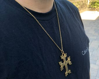Men Or Ladies Khachkar Armenian Large Cross Pendant  Yellow Gold IP Stainless Steel with 22 inch Necklace Chain