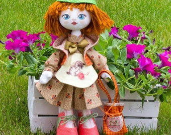 """Doll Making Kit, Set for sewing doll, Textile doll """"Needlewoman"""", Set for textile doll, Handmade doll, Sewing kit"""