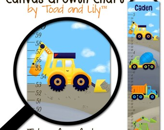 Canvas GROWTH CHART Bright Construction Trucks Boys Bedroom Baby Nursery Wall Art GC0083