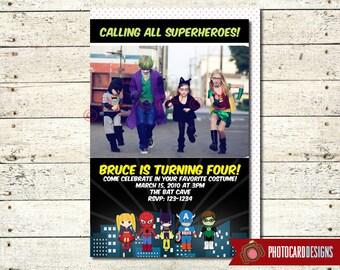 Superhero Birthday Invitation, Superhero Invitation, Photo Card, Superhero, Halloween, Halloween Tag, Costume, Party, Digital, invite