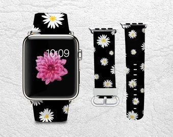 Apple Watch Band for Series 1 2 3, Leather Strap Wrist Band with Metal Clasp 38mm 42mm Adapter connector - Daisy Floral flowers -P36