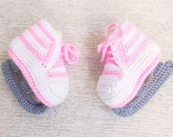 Ice Skates Crochet Baby Booties, Crochetted Baby Ice Figure Skating Shoes, Baby Skating Outfit