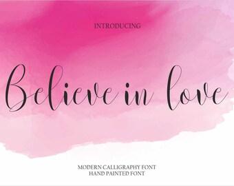 Calligraphy Font Handwritten Script Wedding Watercolor Instant Download - Belive in love Font