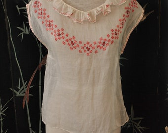 1930s Embroidered Organdy Blouse - Small