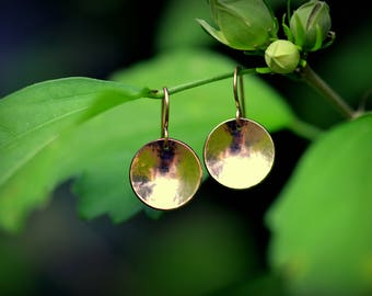 Rose Gold Earrings Domed Rose Gold Circles Jewelry