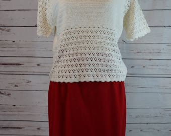 Vintage Small White Crochet Short Sleeve Top