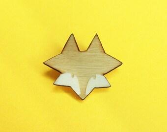 PIN'S FOX / wooden brooch