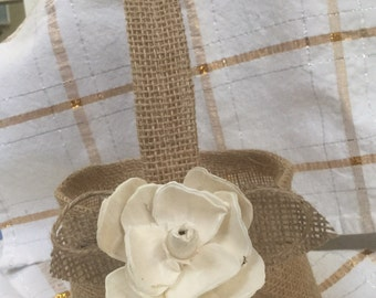 Burlap and twine Flower girl Basket with Sola Magnolia